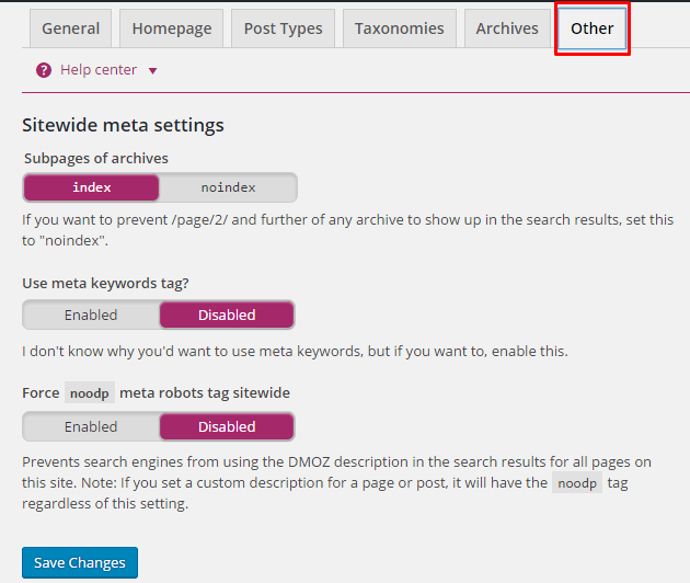 Yoast Other Options