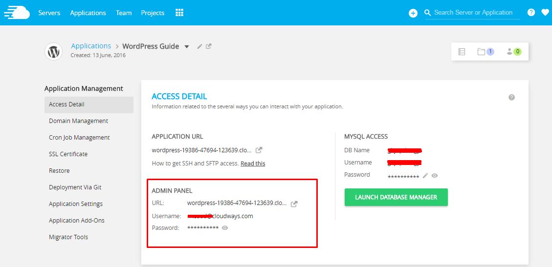 Server Access Details Cloudways