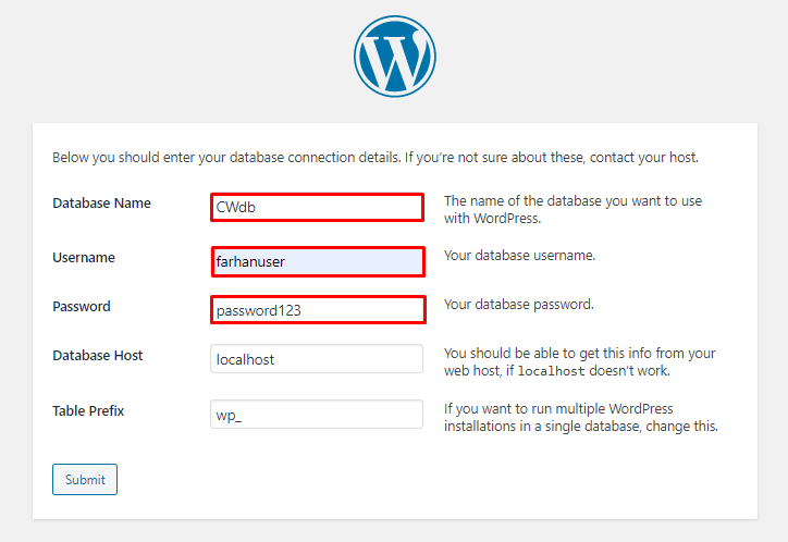 set database values