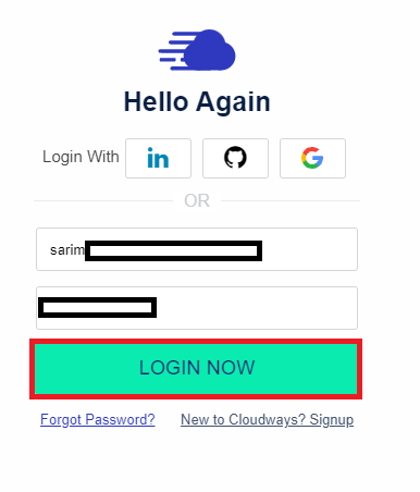 Log in with Cloudways