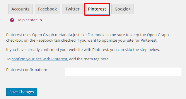 Yoast Pinterest Settings