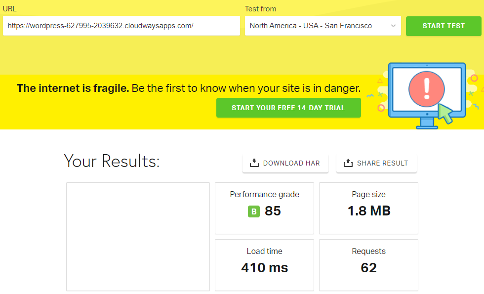 SiteOrigin Pingdom Test Result