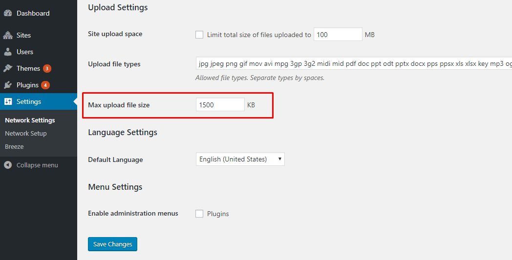 wordpress multisite maximum upload file size