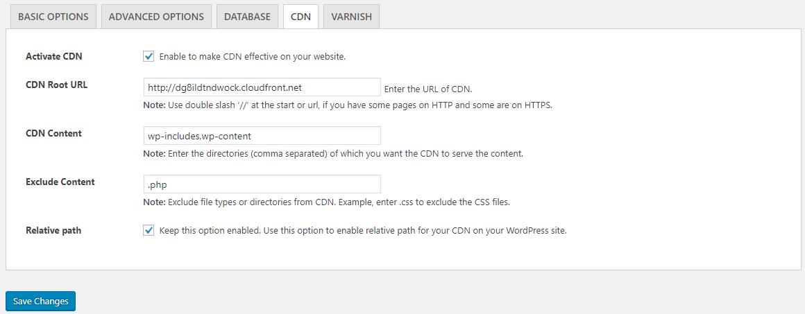 CDN WordPress configuration with breeze dashboard