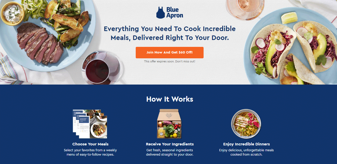 Blue Apron - Ecommerce landing page examples