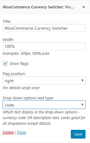 WooCommerce Currency Switcher Widget