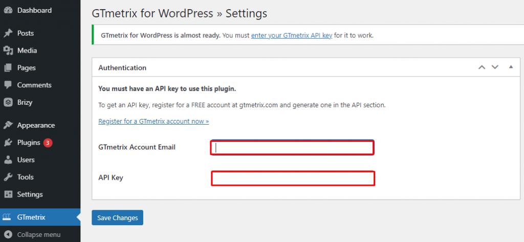 Integrate GTmetrix with WordPress