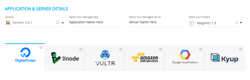 select DigitalOcean from providers