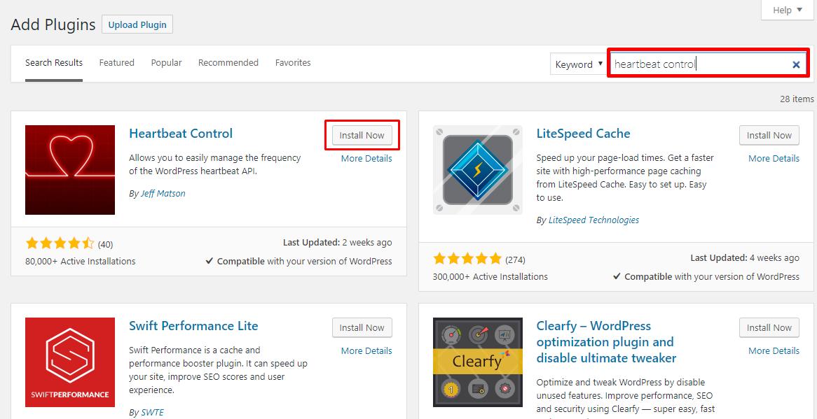 Install Heartbeat Control Plugin. Login to your WordPress Admin Dashboard ...