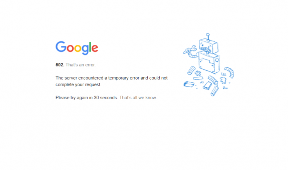google 502 bad gateway error