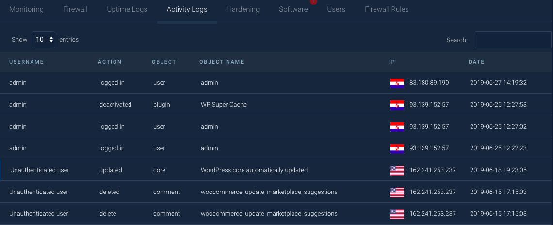 Registros de atividades WebARX