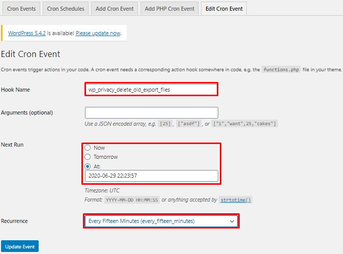 edit cron events