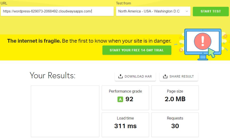 Zion Page builder Pingdom Test result