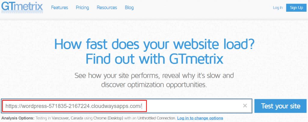 Gtmetrix test without plugin