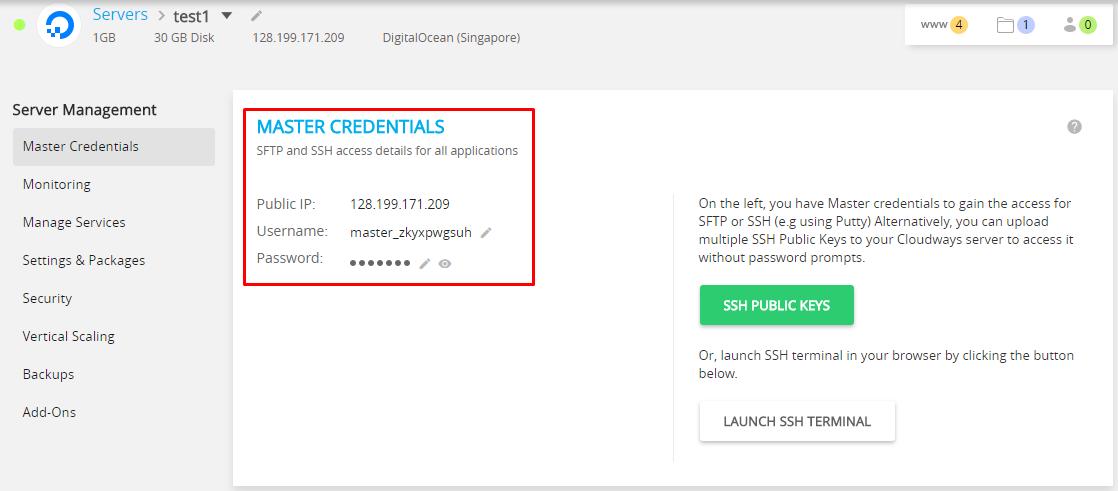 server master credentials