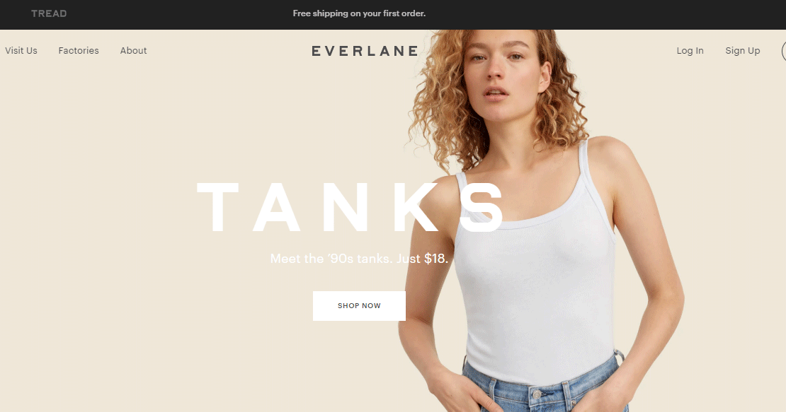 Everlane - Landing page examples