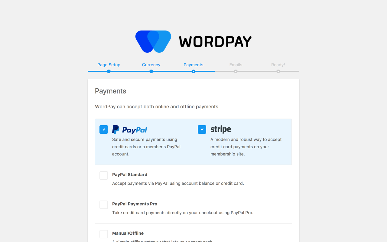 Wordpay setup