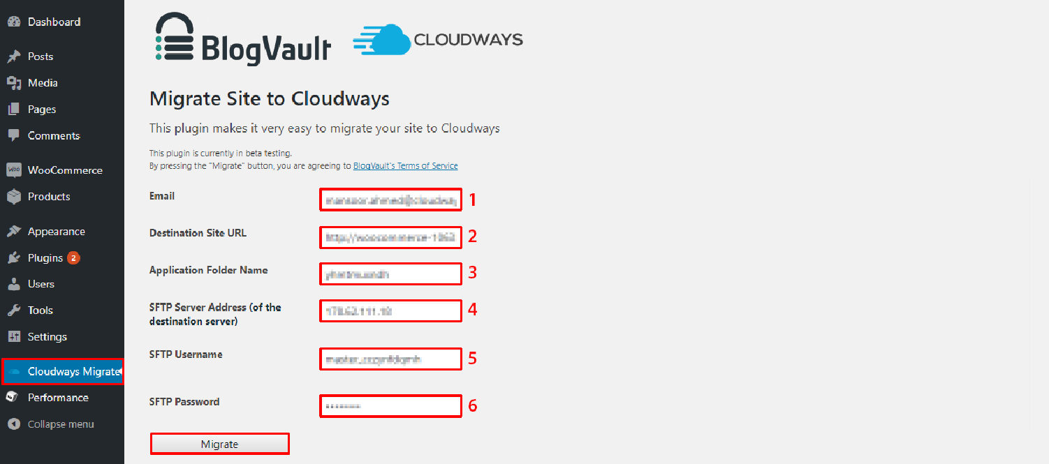 Migrate site to Cloudways