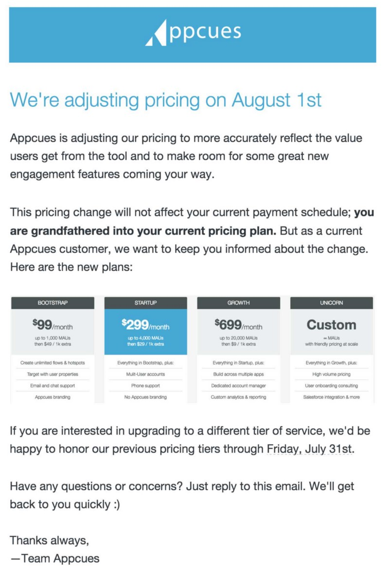 Appcues pricing strategy example
