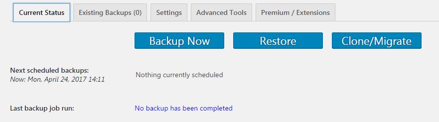 UpdraftPlus Plugin Dashboard