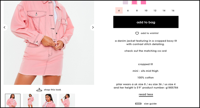 product description from Missguided