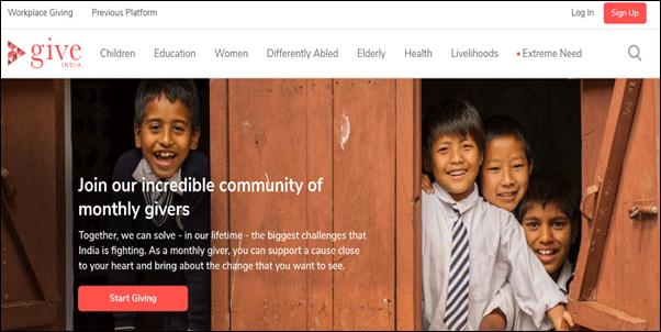 Give India Nonprofit Website