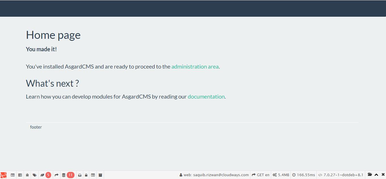 asgardcms default page
