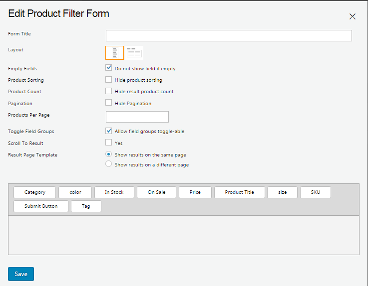 Creating a New Product Filter