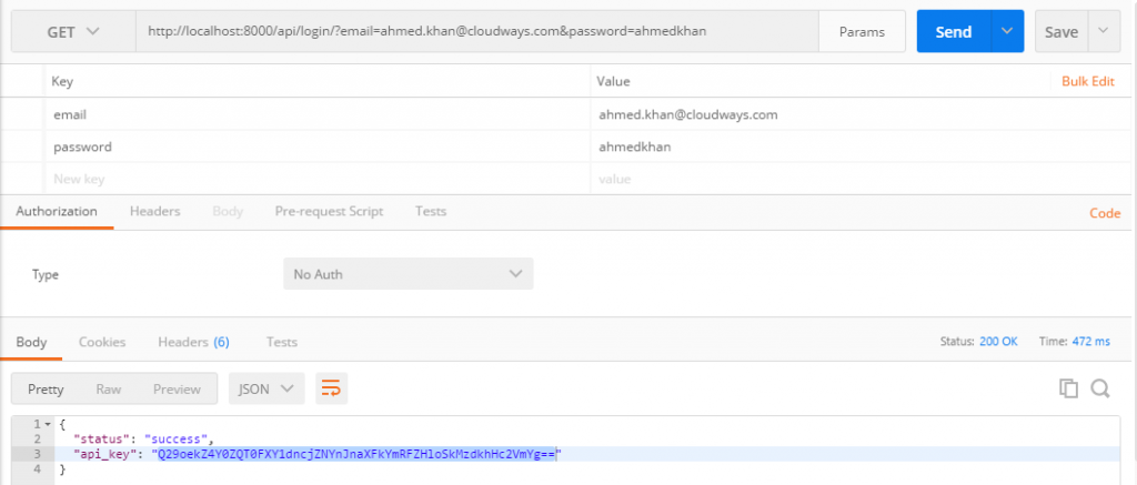 Login using the API