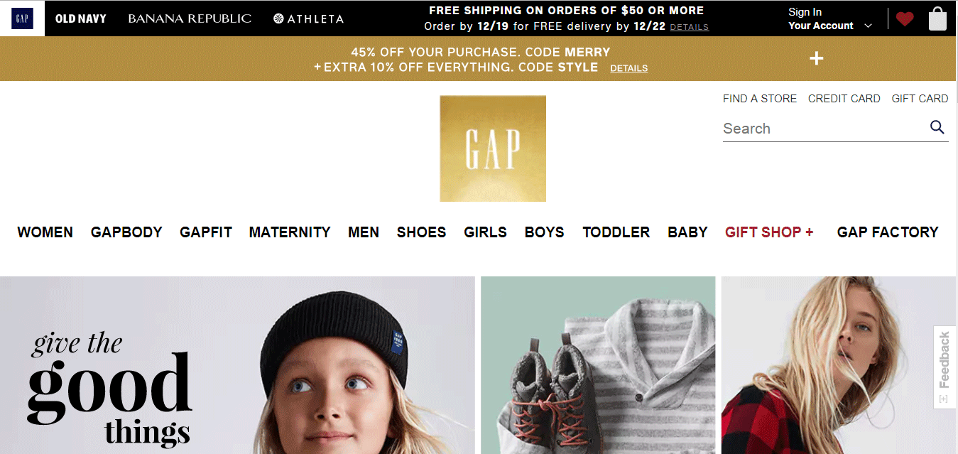 Top Ecommerce Site - The Gap