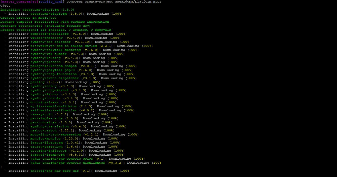 installing asgardcms