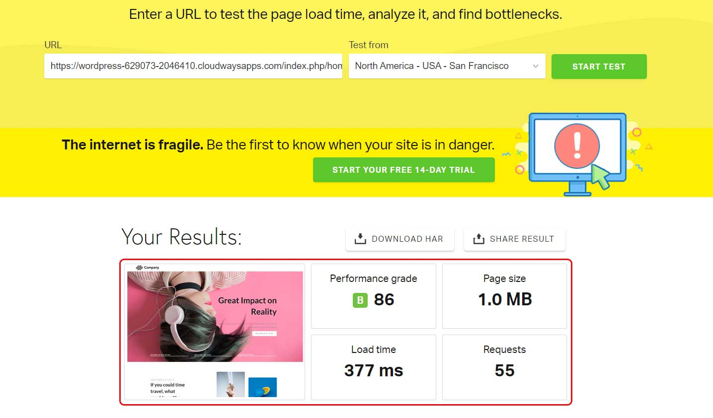WP Page Builder Pingdom Test Result