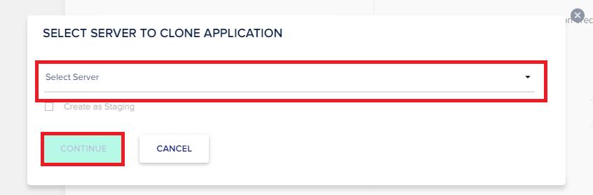 select server to clone app