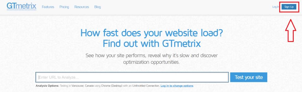 GTmetrix sign up