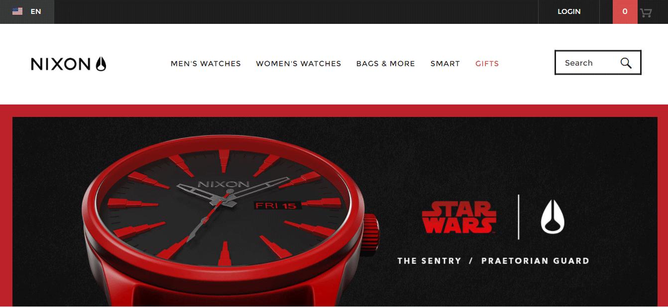 NIXON ecommerce website