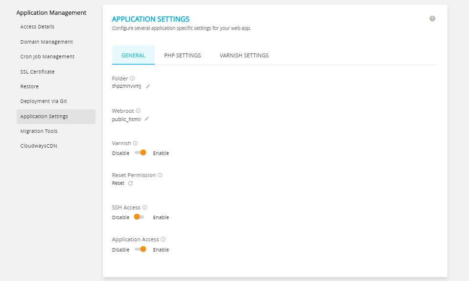 Application Setting