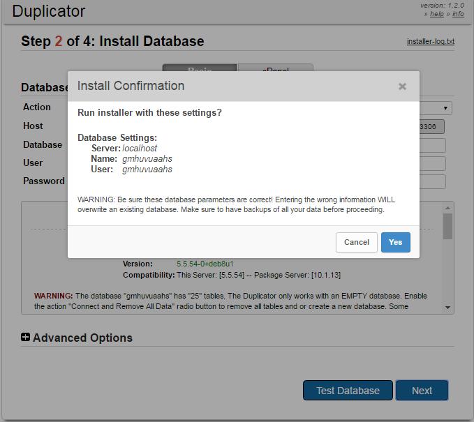 install confirmation