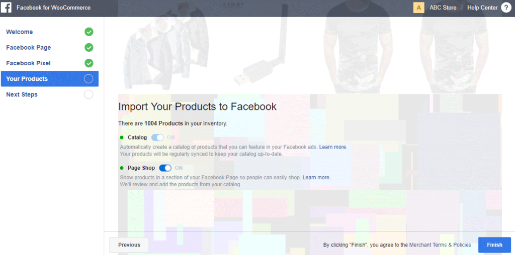 import product to facebook