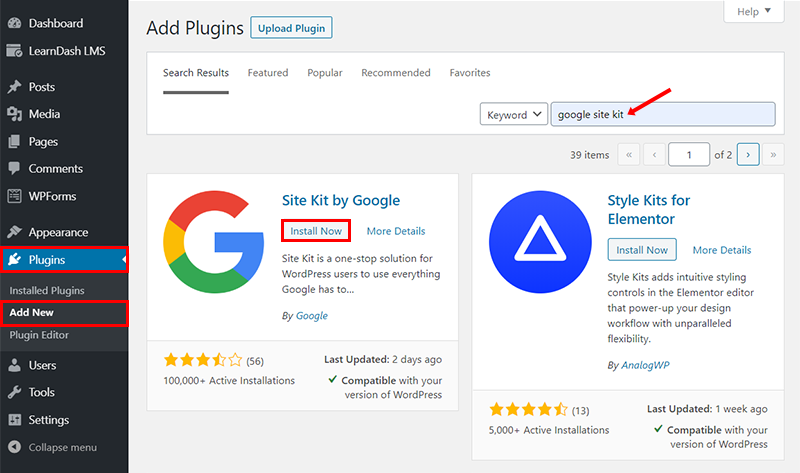 install google site kit