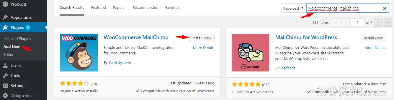 install mailchimp plugin