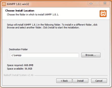 install XAMPP Location
