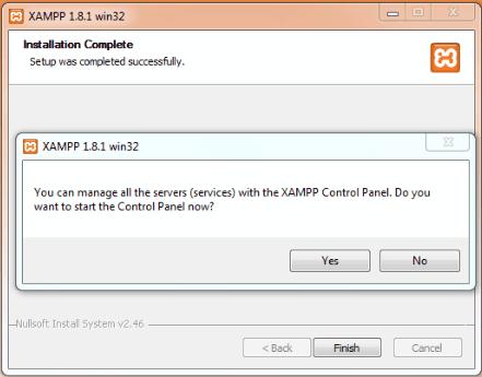 XAMPP installation complete