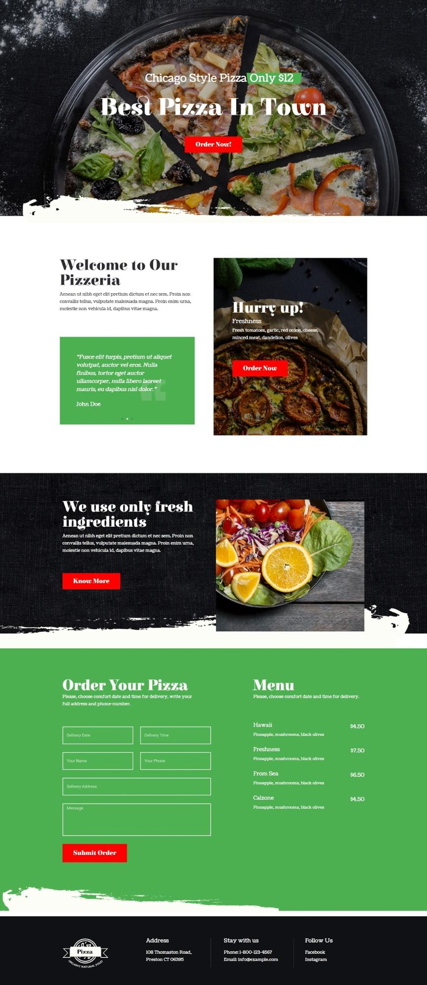landing page for a Pizzeria