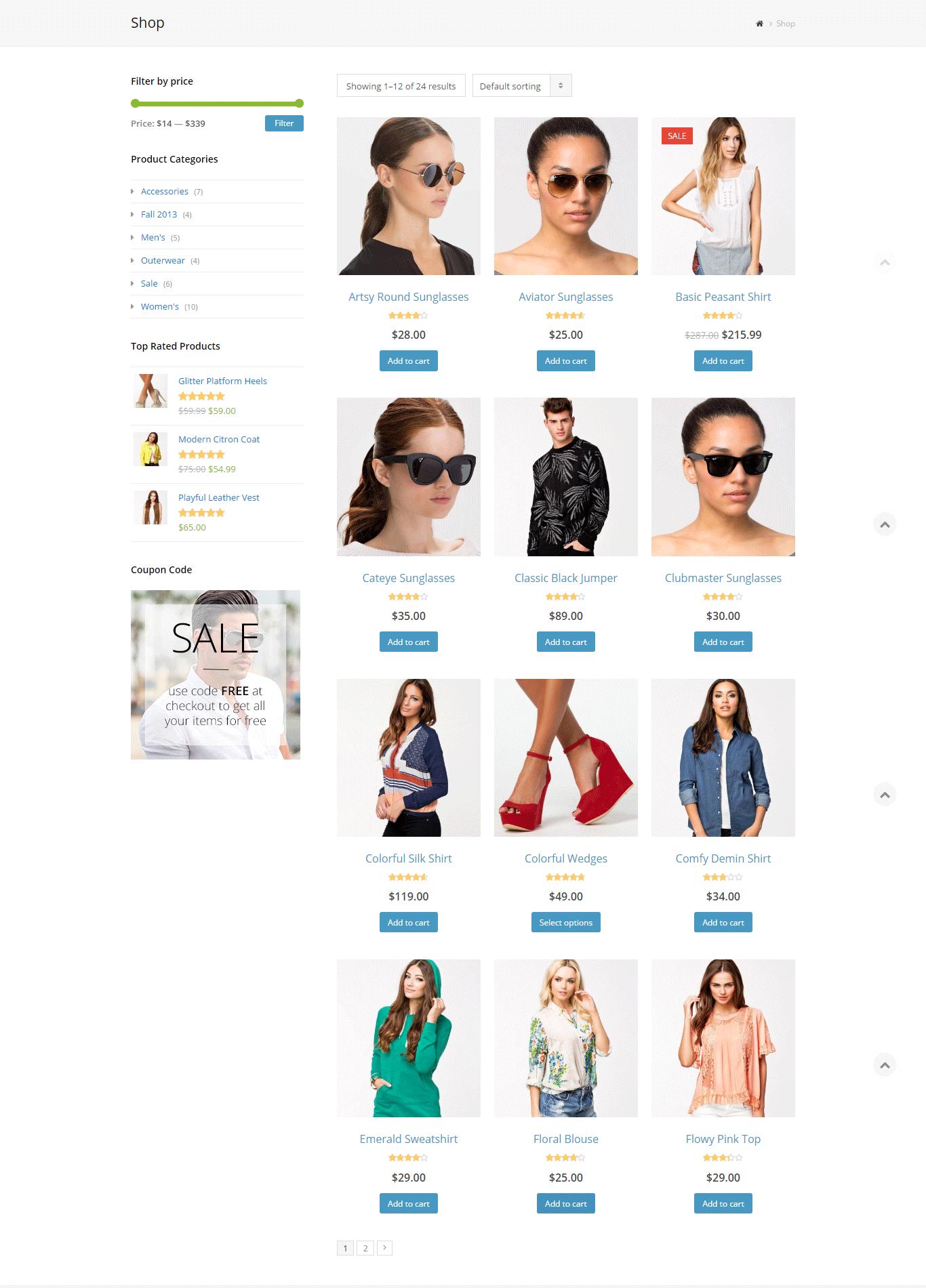 Total Theme Shop Page Preview