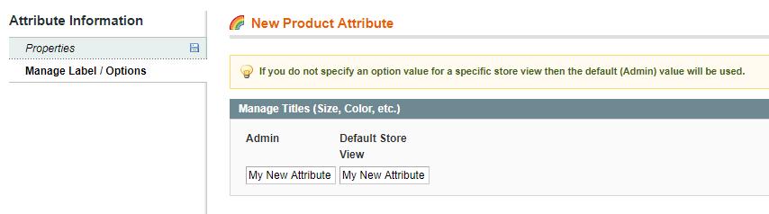 manage label attribute magento
