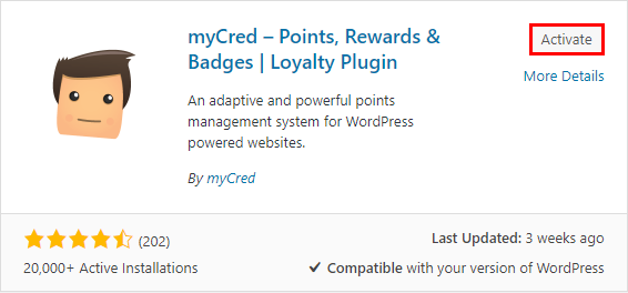 mycred activation