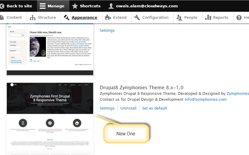activate theme in drupal 8