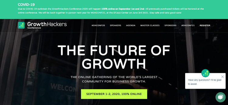 online event landing page example
