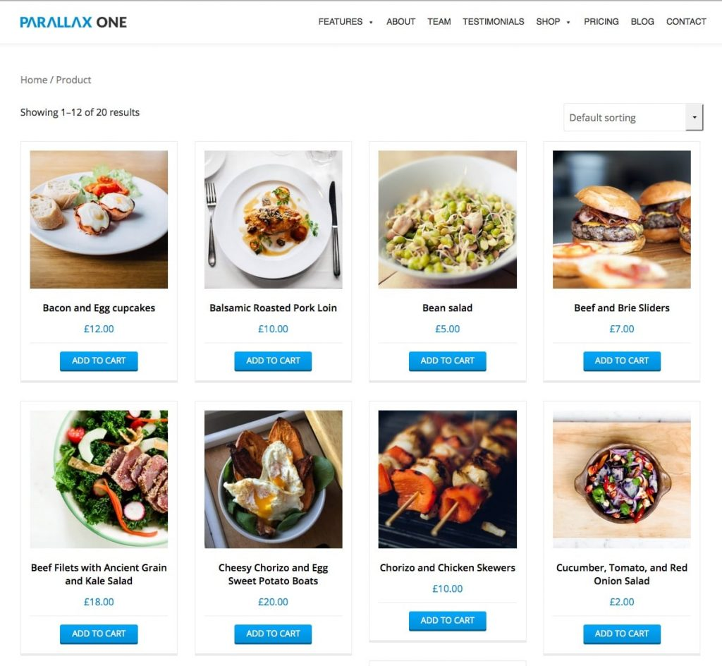Parallax One Free WooCommerce Theme