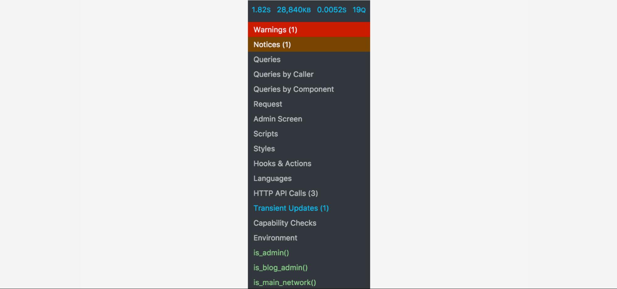 query monitor plugin menu